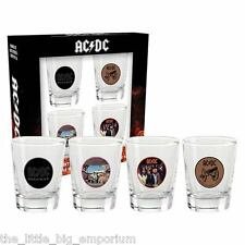 AC/DC Shot Glass Set Of 4 - With Images Of Classic Album Covers - Barware Bar