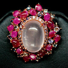 NATURAL PINK ROSE QUARTZ, RUBY, SAPPHIRE & CZ BROOCH 925 STERLING SILVER