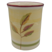 Hartstone Spring Leaves Utensil Crock Red Yellow Green Farmhouse Russet Apple