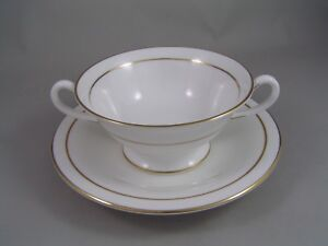 ROYAL WORCESTER CONTESSA TWO HANDLED SOUP COUPE AND SAUCER.