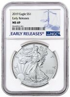 2019 1oz Silver American Eagle NGC MS69 - Early Releases - Blue Label