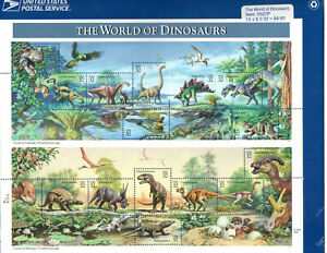 The World Of Dinosaurs United States Postal Stamps Sheet Mint Sealed  $4.80 Face