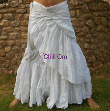 HIPPY BOHO GYPSY WRAP SKIRT, WHITE COTTON, MAXI SIZE 8 10 12 14
