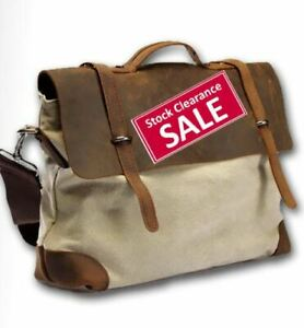 """Linshi Tasks """"Redondo"""" Men's Trendy Canvas Satchel with Leather Straps - Natural"""