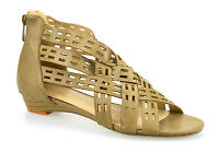 Womens Ladies Low Wedge Heel Zip Up Strappy Gladiator Summer Sandals Shoes Size