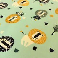 Jersey Stoff Löwe Safari Zirkus Muster Kinderstoff Baumwolle Öko-Tex 0,5m
