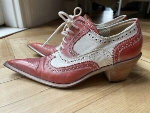 Handmade Leather Heeled Brogues- Size 36