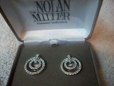 NOLAN MILLER Sparkling Crystal Circle EARRINGS Silvertone Clipons NIB Great Gift