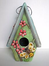 Beautiful Birdhouse, Green, Pink Flowers, Bee, 'Textured', Very Ornate & Sturdy