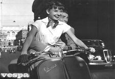 B & W  Poster Audrey Hepburn Gregory Peck On Piagio Vespa in Italy  Print