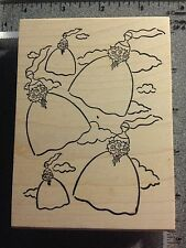 NEW Ducks in a Row Bridal Wedding Background Wood Mounted XL Rubber Stamp