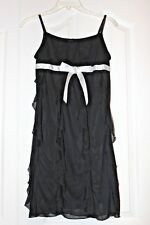 black Ruffle & Gemstone Bow Accent girls summer Dress clothes Sz 16 Euc