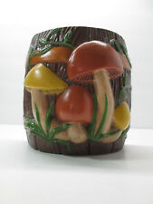 "Vintage 1978 Arnels Ceramic Mushroom Themed Hanging Plant Holder 6"" Tall Brown"