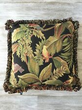"Tucan Parrot Jungle Tapestry Pillow 17"" x 17""  Loop Fringe Dakotah Brand"