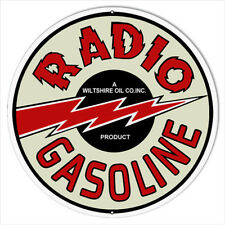 Large Reproduction Radio Gasoline Motor Oil Metal Sign 18 Round