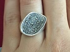 Ring Sterling Silver *Size 6* G897 Beautiful Art Deco Marcasite Twist Wave Gems