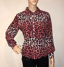 Victoria Soie Silk Blouse Size M Medium Womens Button Down Shirt Leopard Print