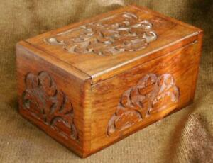 Hand carved floral decoration hardwood Jewellery / Trinket Box / Desk Tidy