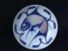Antique Chinese Porcelain Blue White Fish Plate  Plat Assiette Chine Poisson
