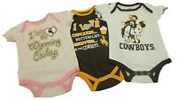NCAA Official Wyoming Cowboys Baby Infant Girls 3 Piece Creeper Bodysuit New