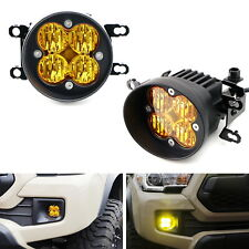 Yellow Lens LED Wide Angle SAE Flood Beam Fog Light Kit For Toyota Tacoma Tundra