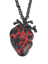Black Anatomical Heart Necklace Pendant Jewelry Medical Goth Red Blood Punk