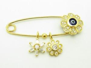 18k Gold Sterling Silver White Sapphire Evil Eye Design Baby Pin Stroller Gift
