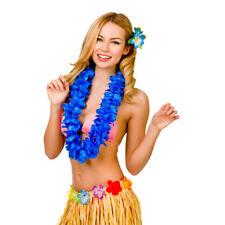 Wakiki Hula Girl Hawaiian Blue Petal Lei Womens Fancy Dress Accessory Aloha
