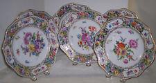 6 Antique Carl Thieme Dresden Reticulated Dessert Plates Hnd PaInted Flowers Fab