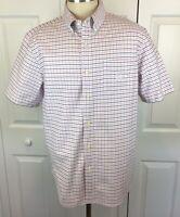 Chaps Mens Short Sleeve Plaid XL Stretch Oxford Pink Blue Shirt Button Front