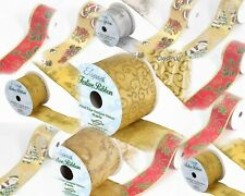 Wired Edge Satin Christmas Ribbon. 63mm X 10yds. Wreath Rustic Decoration Crafts