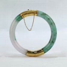 Vintage Jade & 14 Karat Gold Hinged Chinese Bangle or Bracelet - Jadeite VR