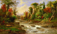 Oil painting Robert Duncanson On St Annes East Canada landscape with stream art