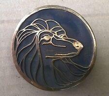 NOS 1970's UB Hand Made Afghan Hound Dog Head Solid Bronze Cast Belt Buckle