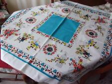 VTG Mid-Century Turquoise Tablecloth 57x52 Birdcage Clock Potted Flowers ~ CUTE!