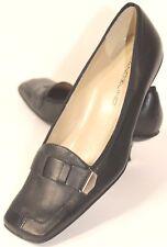 Bandolino Women's Black Leather Slip-On Spool Heel Square-Toe Size 5.5 M