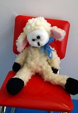 "1989 CMC White Baby Lamb Sheep Fluffy w/Blue Ribbon 8.5"" Bean Bag Plush"