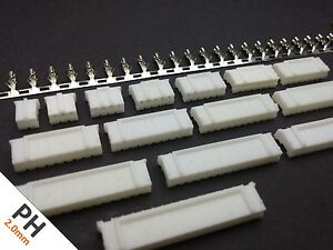 PH 2.0mm Connector Housing + Crimps (2-16 Pin) (JST PH Style)