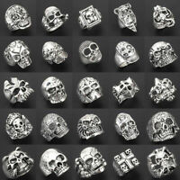 Wholesale 20pcs Gothic Punk Skull Antique Silver Vintage Rings Mix Style Jewelry