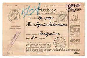 NORWAY: Postal form official parcel Haugesund 1921.