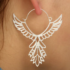 BIG Earrings Angel Wings Ethnic Silver Long Feather Hippy Boho Dangle Large Drop