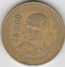 1989 $1000 PESOS MEXICO large world coin Juane De Asbaje