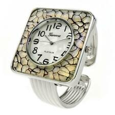 Silver Gray Large Square Face Bangle Cuff Watch for Women
