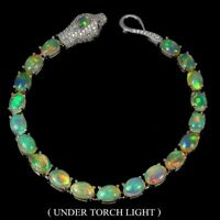 Unheated Oval Fire Opal Rainbow Full Flash Cz 925 Sterling Silver Cobra Bracelet