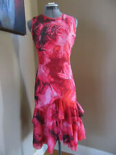 New Fuzzi Pink/Red FloralPrint Mermaid Ruffle Dress Size Small