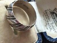 Size N VINTAGE MODERNIST Textured RING STERLING Silver DESIGNER