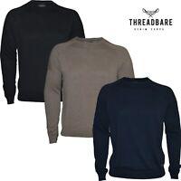 Mens Threadbare Jumper Thin Knit Crew Neck 100% Cotton Casual Sweater Top New