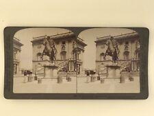 Rome Capitole Statue équestre de Marc Aurèle Photo Stereo Stereoview Vintage