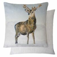 EVANS LICHFIELD WINTER CHRISTMAS REINDEER STAG LINEN CHENILLE CUSHION COVER 17""