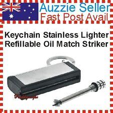 Stainless Refillable Oil Match Striker Case Cigar Lighter Key Chain